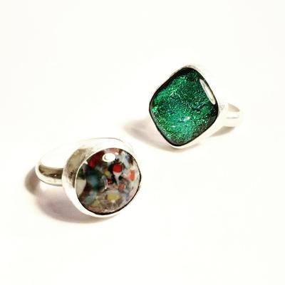 Handmade fused glass and sterling silver rings