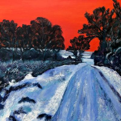 Red Sky Track to the Farm, Mixed Media 60x60cm