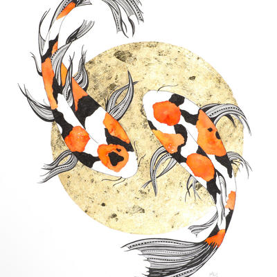 Koi - Pen & Ink drawing, gold foil