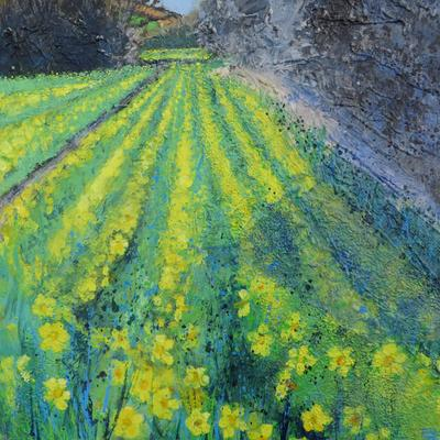 Along the Valley to the Daffodil Filed. Acrylic and mixed media on canvas. 20 x 20 ins ( 51 x 51 cm)