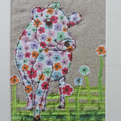 Daisy cow - hand and machine embroidery mix