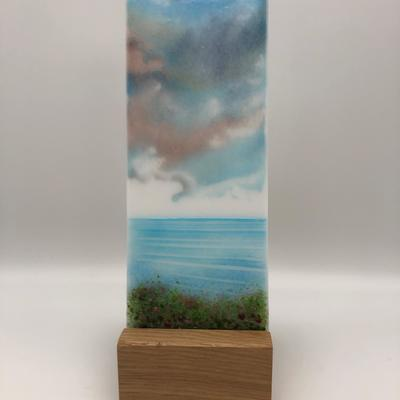 'The Seaside' glass art panel.   A 'painting' with glass on glass