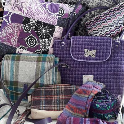 Purple collection of bags and cushions