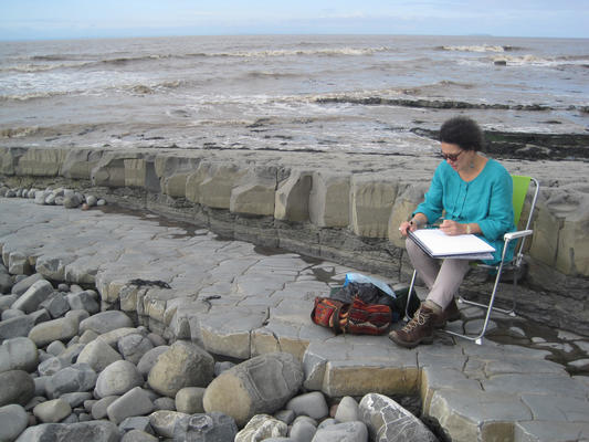 Christine Bass drawing at East Quantoxhead