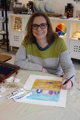 Artist Clare Tebboth at work