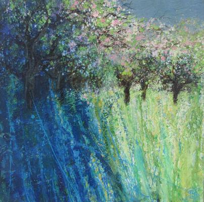 Bright Pink Blossom, Wild Orchard, Bird Song. Acrylic and mixed media on canvas. 20 x 20 ins ( 51 x 51 cm)