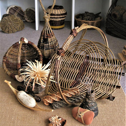 Woven willow basket group