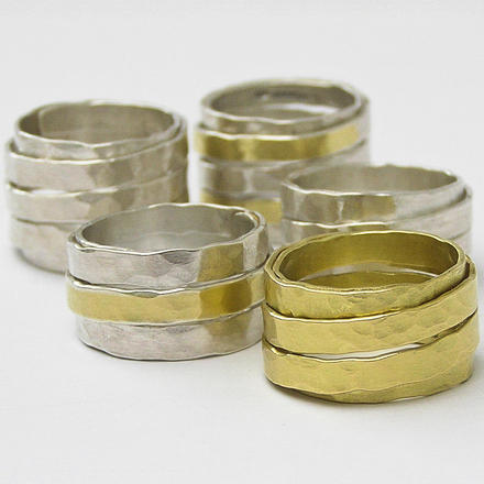 Anna K Baldwin Wrapped rings in silver and 18ct gold