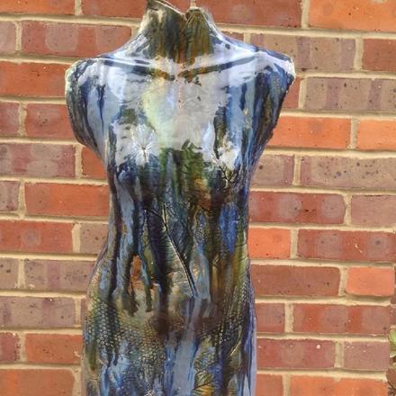 Stoneware figure on wood 'Blue Waterfall'