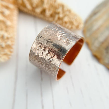 Copper and Silver Wide Ring