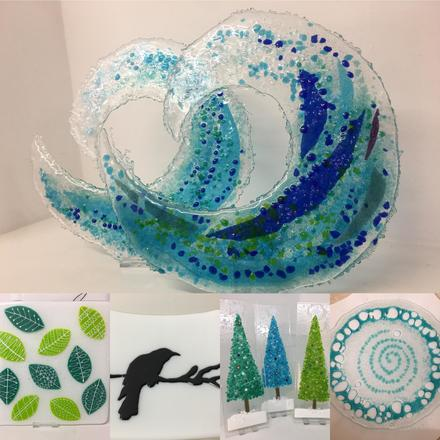 Glass, plates, platters and ornaments