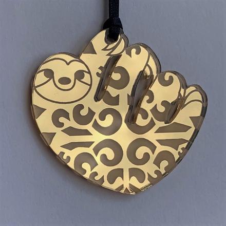 Gold mirrored acrylic sloth decoration