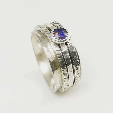 Silver and Opal Spinner Ring handmade by Liz Dee