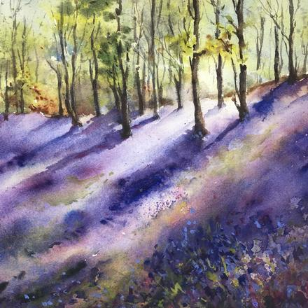 Watercolour bluebell embankment painting