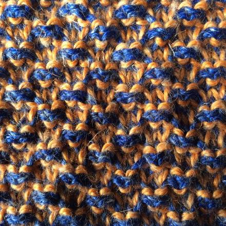 Blue and orange scarf detail