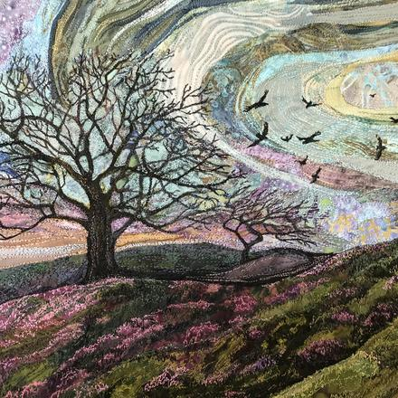 Original embroidered textile by Rachel Wright,Trees and heather in landscape