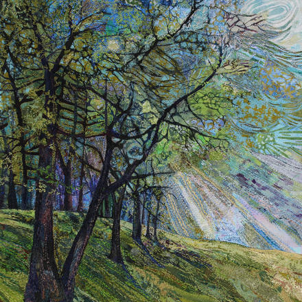 Original embroidered textile by Rachel Wright, sunlight through trees.