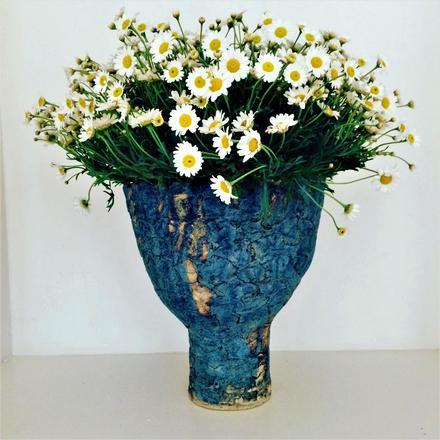 Goblet vase, stoneware, cobalt glaze