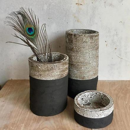 Catherine Bridget Phillips monochrome textured ceramic vessels.