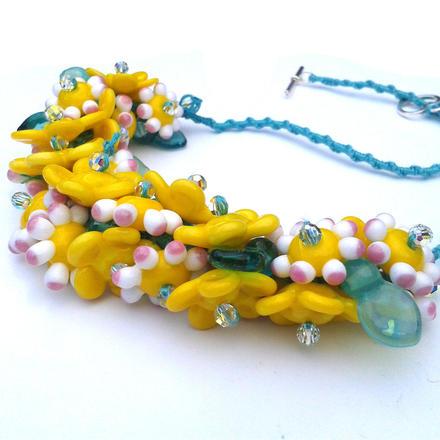 Handmade Glass Beads on Macramé Cord