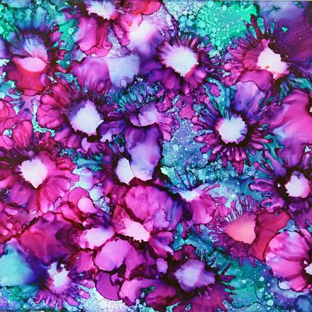 Purple Flowers with Alcohol Inks
