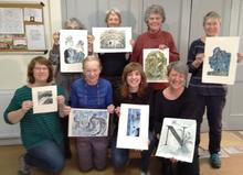 Happy students at my collagraph workshop