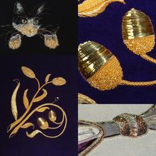 Image shows a collage of lots of different examples of goldwork techniques and applications to show you the sort of thing you will be sewing on the course.
