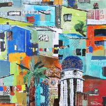 Acrylic + Collage workshop of a townscape