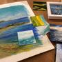 Textured mixed media landscape paintings